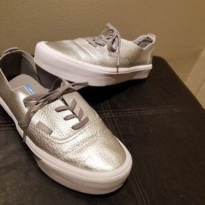 VANS Silver Leather Snakeskin Sneakers (Size 6 W)